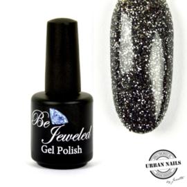 Be Jeweled by Urban Gelpolish 104 Zwart met een zilveren glitter.