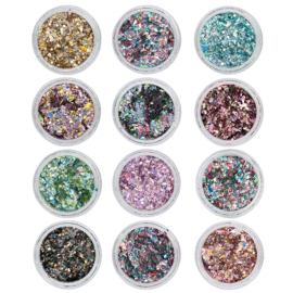 Nail art Crushed Metal Flakes 12 kleuren in doos. 118894