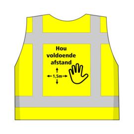 Veiligheidsvest Geel met opdruk: Houd voldoende afstand