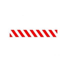 Vloersticker rood/wit gestreept 100x15 cm.