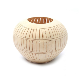 Coconut Candle Holder with Stripes