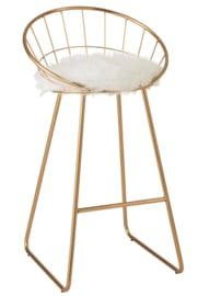 Wire Bar Stool in Gold Color (Set of 2)