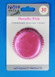 PME BC758 Metallic Pink Standard Baking Cases 30 Pk