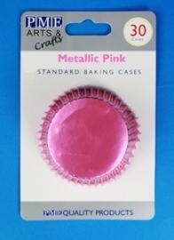 PME BC758 Metallic Pink Standard Baking Cases 30 Pk