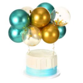 Ballon taart topper turqoise/goud