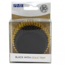 PME BC836 zwarte cupcake bakvormpjes met gouden rand