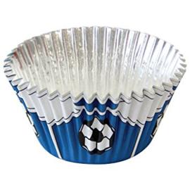 PME BC768 Blue Football Foil Baking Cups 30 stk