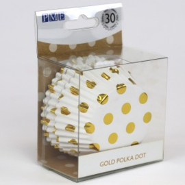 PME BC833 cupcake bakvormpjes wit met gouden stippen