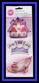 Wilton 2308-0915- Princess Cookie Cutter Set/3