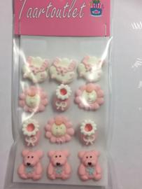 suikerdecoratie geboorte suiker roze