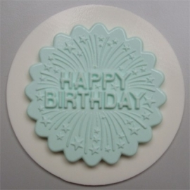 AM0082 Decoratieve cupcaketopper Happy birthday with firework