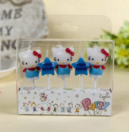 Hello Kitty kaarsjes blauw