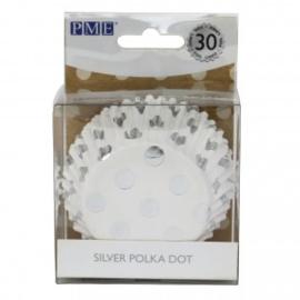 PME BC834  cupcake bakvormpjes met zilveren stippen