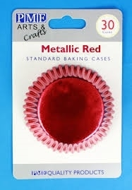 PME BC756 Metallic Red Standard Baking Cases 30 Pk