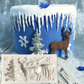 CV 83  -winter, frozen, rendier, kerst mold