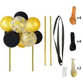 Ballon taart topper zwart/goud