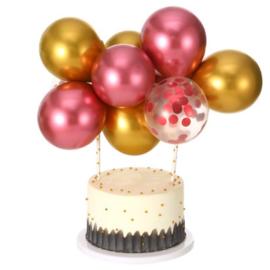 Ballon taart topper roze/goud 2