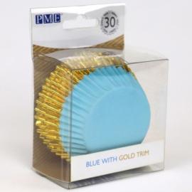 PME BC838 Blauwe cupcake bakvormpjes met gouden rand