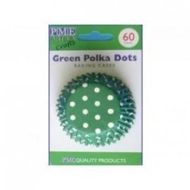 PME BC735 Green Polka Dots Std Baking Cups 60Pk