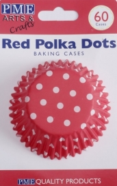 PME BC722 Red Polka Dots Std Baking Cups Pk/60