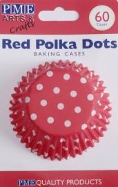 PME BC722 Red Polka Dots Std Baking Cups Pk/60