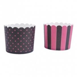 337138 Städter baking cups zwart-roze maxi