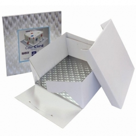 PME BBS886 Cake Box & Square Cake Board (12mm) 20x20x15 cm