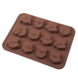 Chocolade mold uilen