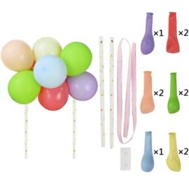 Ballon taart topper kleurenmix pastel
