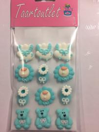 suikerdecoratie geboorte suikerfiguurtjes blauw