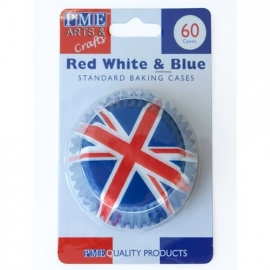 PME BC746 Red White & Blue Baking Cups 60 stuks