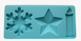 CV51-Sneeuwvlok en ster en kaars mold