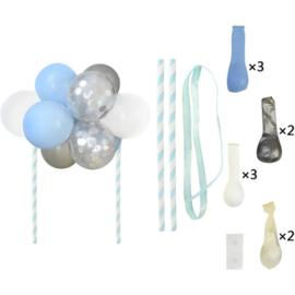 Ballon taart topper blauw/zilver