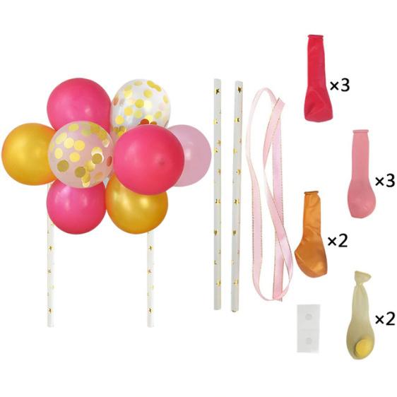 Ballon taart topper roze/goud