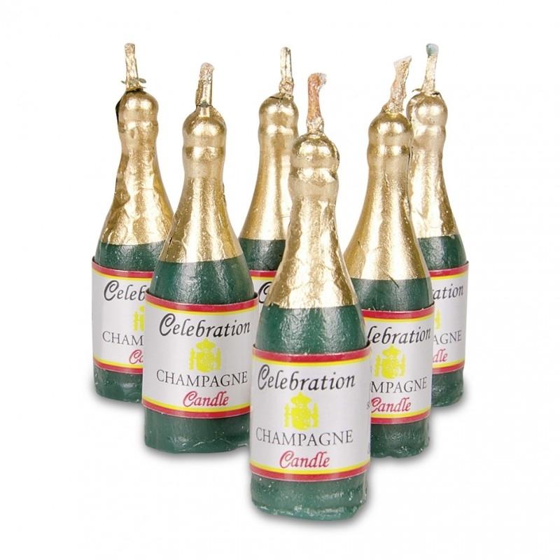 910348  Städter Kaarsjes set van 6 champagne flessen