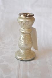 Glazen Kandelaar Wit/Zilver Klein (NIEUW)