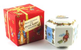 Spaarpot Hexagonaal Merry Christmas - Wedgwood Peter Rabbit