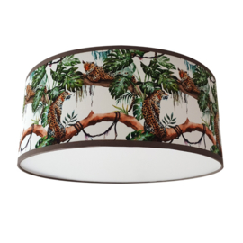 Kinderlamp plafond Jungle bomen luipaard