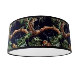 Kinderlamp plafond Jungle bomen luipaard zwart