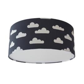 Plafondlamp antraciet met witte wolken