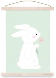 Poster Konijn met bloem