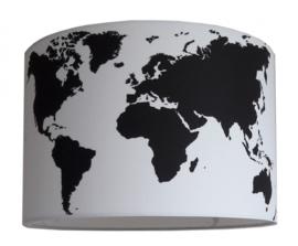 Lampenkap Wereldkaart zwart wit
