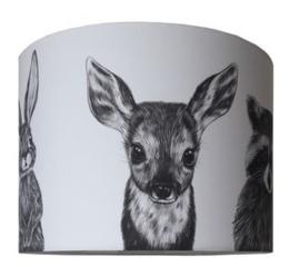 Kinderlamp Bosdieren zwart/wit