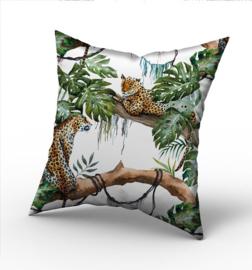 Kussen jungle luipaard wit