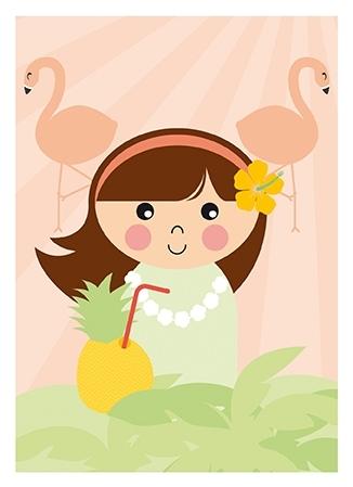 Poster Hawaii Meisje A4