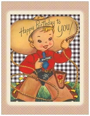 Wenskaart Happy Birthday Cowboy