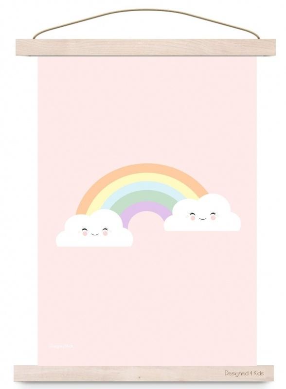 Poster A3 Regenboog en wolkjes