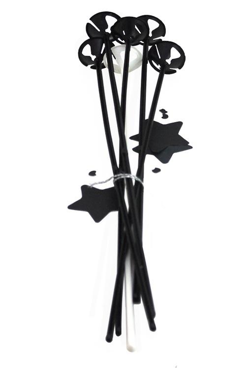 Ballonstokjes zwart 6 stuks