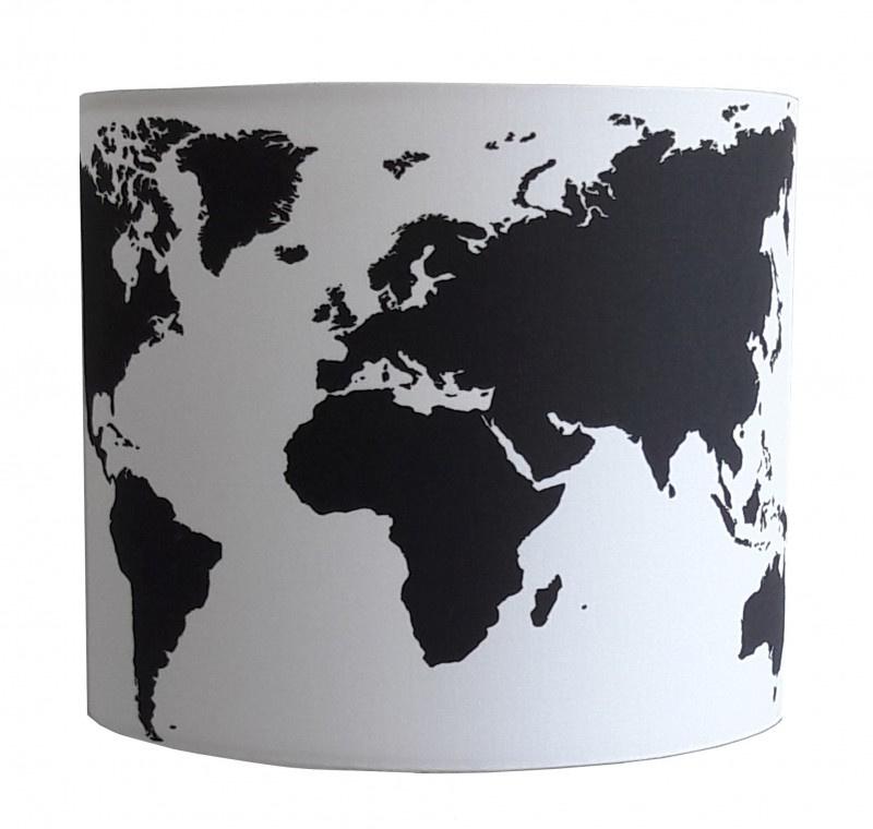 Wandlamp Wereldkaart zwart wit