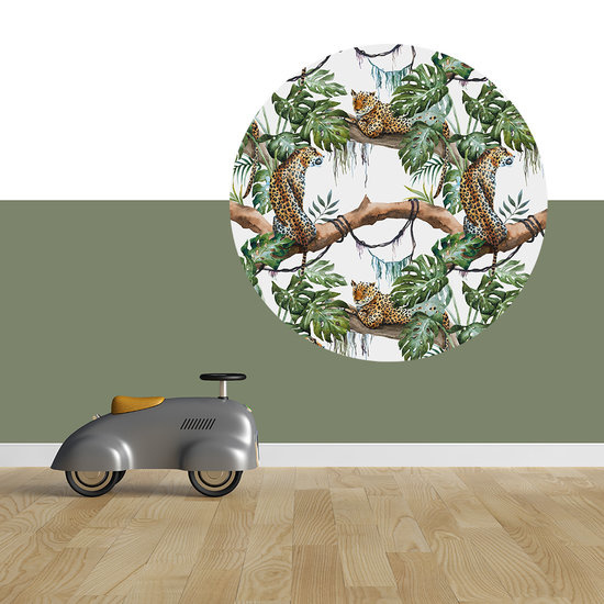 Muurcirkel Luipaard jungle wit